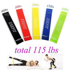 Resistance Band Exercise Workouts Loops Health fitness Legs Booty Butt Train 5Pc