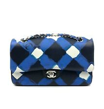 NEW RARE CHANEL AIRLINE AIRPLANE CLASSIC MEDIUM DOUBLE FLAP BLUE BLACK WHITE