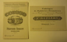 2 Old c.1905 French PERFUME Advertising CARDS - Alziary Pelissier Aragon GRASSE