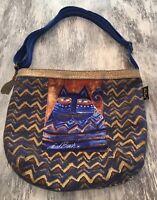 Laurel Burch Indigo Blue Metallic Gold Azul Cat Tote Purse Bag Clean #362
