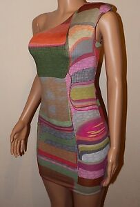 VICKY MARTIN retro multi bodycon padded one shoulder fitted mini dress 8 10 BNWT