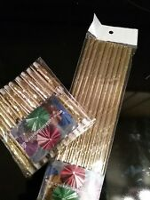 CHRISTMAS GOLD METALLIC COCKTAIL UMBRELLAS & 10 GOLD PAPER STRAW BIODEGRADABLE