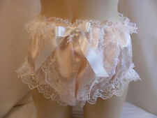 """SISSY BOY  FRILLY PEACH VTG STYLE LACEN LINGERIE PANTIES KNICKERS W/HIP 28""""-42"""""""