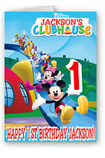 Personalised Birthday Card with Mickey Mouse Clubhouse  Print - Any name & Age