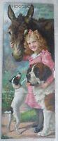 1903 Hood's Sarsaparilla Calendar Four Friends Girl Jack Russell St. Bernard Dog