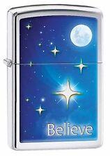 Zippo Lighter: Believe, Stars and Moon - High Polish Chrome 29071