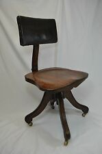 Antique Vintage Wood and Leather Rolling Office Chair~Swivel~Adjustable~Wheels