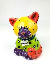 "Cat Cookie Jar Hand Painted Color Block Colorful ""Meow"" Pottery Signed ""L 04"""