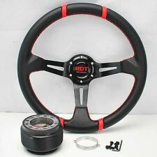 "BLK/RED DEEP DISH 13.5"" STEERING WHEEL+HUB FOR 84-87 HONDA CIVIC 83-91 PRELUDE"