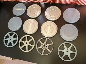LOT of 4 metal 8mm film REELS and CANS
