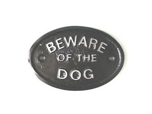 SILVER BEWARE OF THE DOG- HOUSE PLAQUE WALL SIGN GARDEN - BLACK - NEW