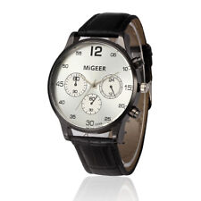 Mens Watches Fashion Leather Strap White Dial Analog Quartz Dress Wrist Watches