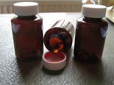 Pet Plastic 35ml Pill Bottles Safety Cap Brown Storage Container Bottle 1-25