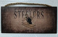 "Pittsburgh Steelers Retro Throwback Circa 1961 logo Wood Sign - NEW 12"" x 6"""