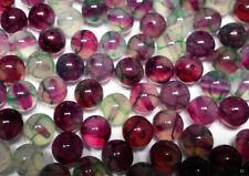 10 perles semi précieuses gemmes AGATES DRAGON 8mm VERT MAUVE //5