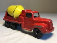 Vintage Tootsie Toy Cement Mixer Truck 24 P-10290 Red and Yellow Die Cast