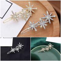 Fashion Women Crystal Snowflake Star Hairpin Girls Hair Clip Headwear Accessory