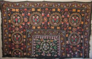 """Mongolian Kazakh Embroidered Wall Hanging Ger Textile -1973 ~ 74"""" x 45"""""""