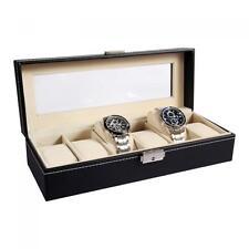 Ohuhu Black Leather 6 Mens Watch Box Jewelry Display Drawer Lockable Organizer
