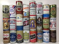 24 Vintage Empty Pull Tab Beer Cans - All Steel, All Different - Full Case