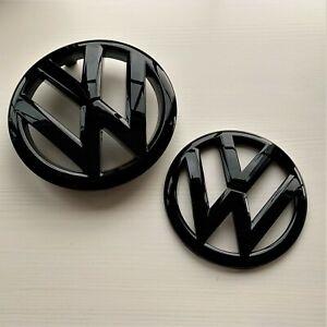 Volkswagen VW Golf 6 MK6 VI R GTI TDI Gloss Black Badge Pair Front Rear