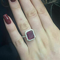 1.75 Ct Emerald Cut Red Ruby Diamond Halo Engagement Ring 14k Yellow Gold Finish
