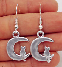 925 Silver Plated Hook - 1.7'' Cat On The Crescent Moon Prom Women Earrings #17