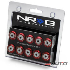 NRG 10pc Universal Red Fender Bumper Washer Kit Silver Bolt for Plastic 100RD