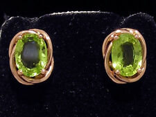 E063 Elegant 9ct Solid Rose Gold NATURAL Peridot Stud Earrings large 7x5mm each