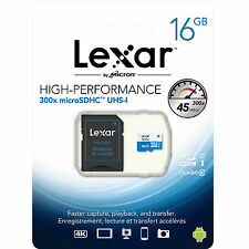 Lexar 16Go Micro SD SDHC MicroSD MicroSDHC Carte Mémoire Class 10 45Mo/s 16 GB