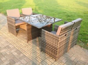 4 Seater Rattan Cube Square Dining Table Chair Set Grey Mixed Patio Furniture