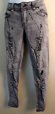 Toxic Women's/Juniors Acid Washed Distressed Black/Grey Mid Rise Jeans Size 7