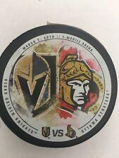 Vegas Golden Knights VS Ottawa Senators limited edition game puck 3/2/2018