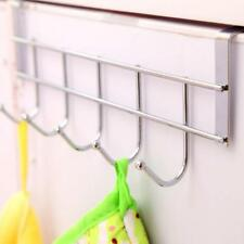 Stainless Steel Over Door Home Kitchen Bathroom Towel Hanger Rack Holder 5 Hooks