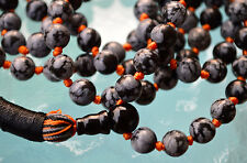 Snowflake Obsidian & Black Onyx 108+1 Hand knotted Mala Beads Mantra Necklace