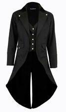 Women's Black Cotton Twill STEAMPUNK TAILCOAT Jacket Goth Victorian Coat/Trench