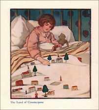 CHILD PLAYING with TOY HOUSES, TREES on BED by Clara Olmstead, antique 1910