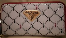 NWT WOMEN'S BABY PHAT DOUBLE ZIP AROUND WALLET WHITE MULTI CELL PHONE WRISTLE