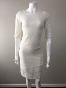 Tigerlily Ivory Crochet Lace 3/4 Sleeves Dress Fitted Low Back Size AU 8 US 4