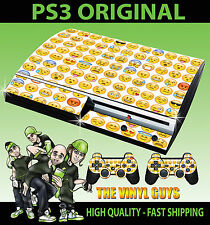 PLAYSTATION PS3 OLD SHAPE EMOJI FACES ICONS MOODS STICKER SKIN & 2 PAD SKINS