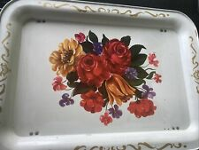 Vtg 40s 50s Metal Lap Bed Tv Tray w/ Foldable Legs Floral Retro Mid Century