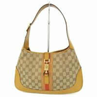Auth GUCCI Web GG Canvas Leather Shoulder Hand Bag Italy F/S 12013bkac