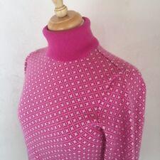 100% cashmere pink turtleneck diamond patterned turtleneck sweater size Small