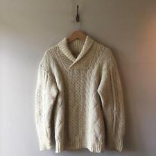 True Vintage 1940s/50s/60s Cream Hand Knit Cable Aran Wool Jumper Sweater S