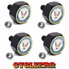 4 Black Hex Billet Aluminum Motorcycle License Plate Frame Tag Bolts USN NAVY