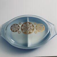 Vintage Pyrex Royal Blue 1 1/2 Qt Divided Casserole Dish Gold Constelation Lid