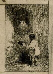Antique Master Print-GENRE-YOUNG-BEGGAR-HAT-Jacque-1844