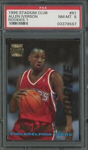 1996 Stadium Club Rookies 1 Allen Iverson Philadelphia 76ers RC PSA 8 NM-MT