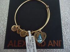 Alex and Ani LIVING WATER II Russian Gold Charm Bangle New W/ Tag Card & Box