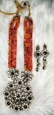 Bollywood Indian Earring Necklace Jewellery Set Kundan CZ AD Red